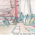 De Albertha mittschiffs während der Ausfahrt auf die Ostsee